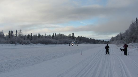 Skiing down the runway in Port Alsworth