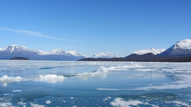 Lake Clark ice pressure crack