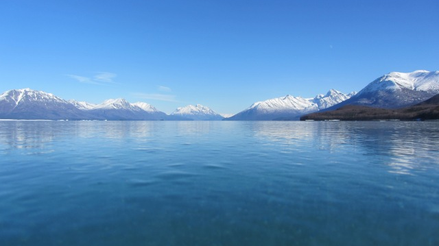 Lake Clark frozen solid