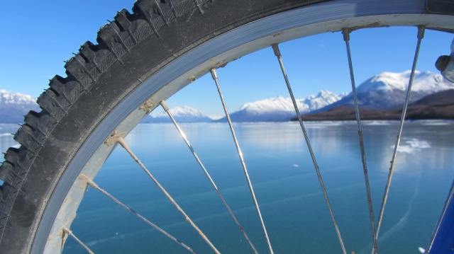 Ice biking on Lake Clark